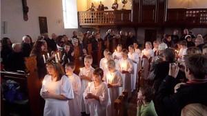 Lucia-optog 5. klasse 2011 i Idestrup kirke